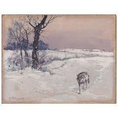Stepan Fedorovich Kolesnikov, Lone Wolf in a Winter Landscape