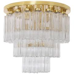 Huge Brass Chandelier Limburg Glasshutte, 1970