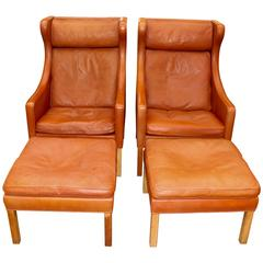 Pair of Børge Mogensen for Fredericia Wing Chairs and Ottomans