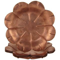 Marie Zimmermann American Arts and Crafts Copper Flower Dish Set