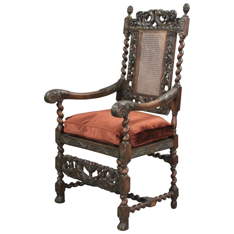 Early 1900s Carved Spanish Revival Chair With Velvet