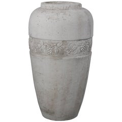 Large and Impressive 1920s Concrete Vase with Grapevine Motif