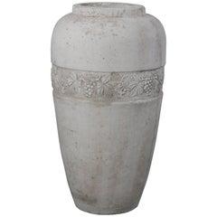 Large and Impressive 1920s Concrete Vase with Grapevine Motif