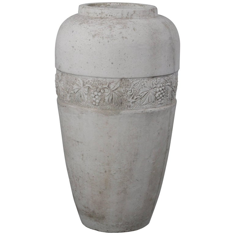 Large And Impressive 1920s Concrete Vase With Grapevine Motif For