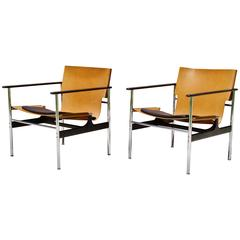 "Pair of Knoll Charles Pollack ""Sling Chairs"" 657 Leather, Steel and Aluminum"
