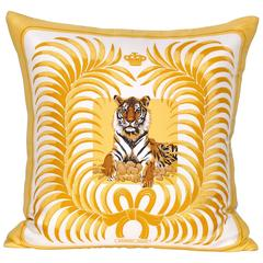 Vintage Hermes Gold Yellow Tiger Silk Scarf and Irish Linen Cushion Pillow