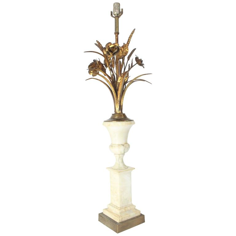 Wheat Sheath Flowers Marble Pedestal Shape Base Table Lamp For Sale