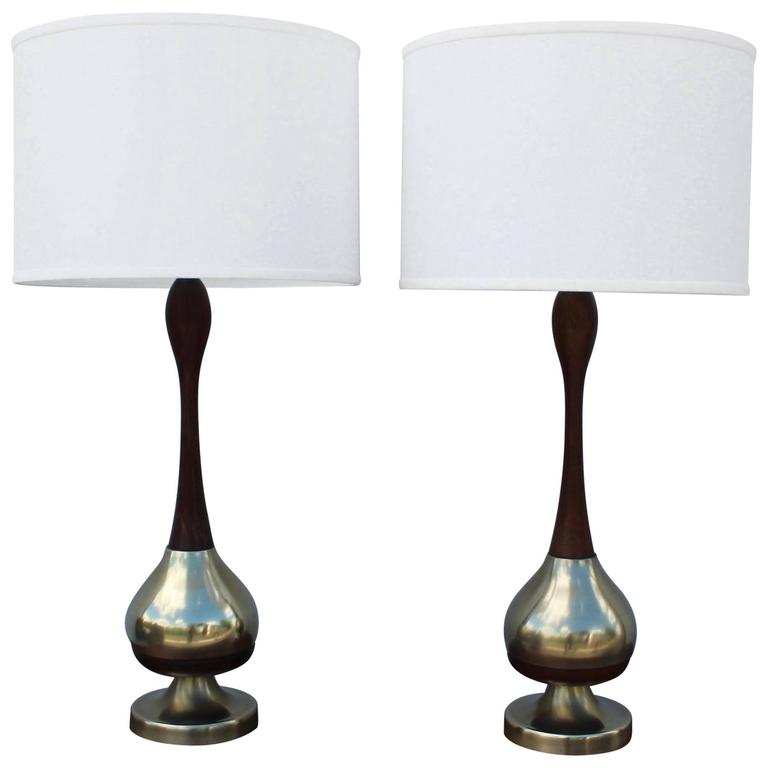 Tony Paul Brass and Walnut Table Lamps