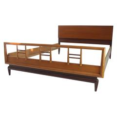 Birch and Walnut Mid-Century Modern Full Size Bed Frame