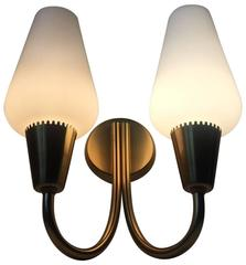 Modernist Opaline Glass and Brass Twin Sconce by Lyfa, Denmark, 1950s