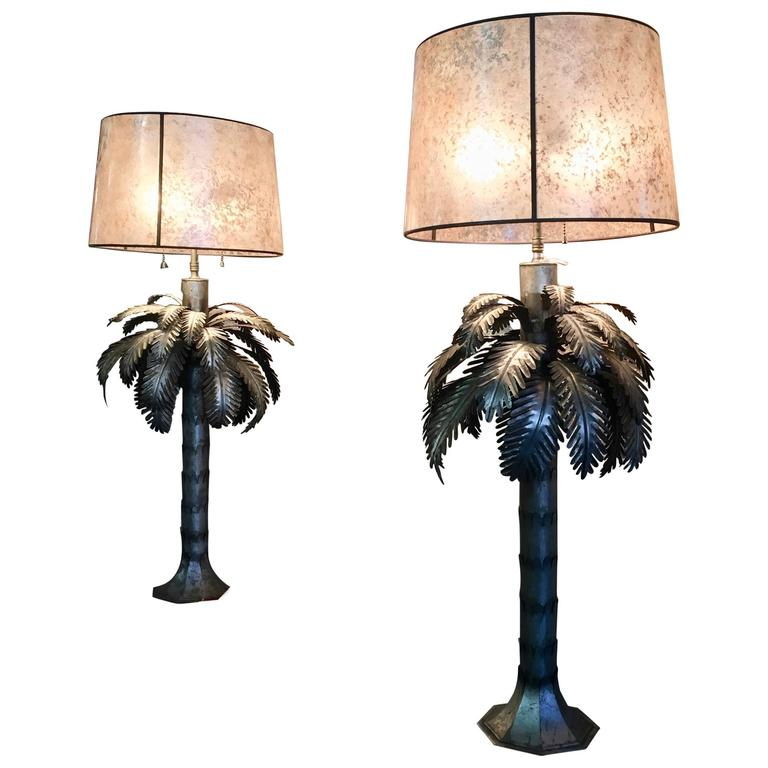 Pair Of Tole Palm Tree Table Lamps For