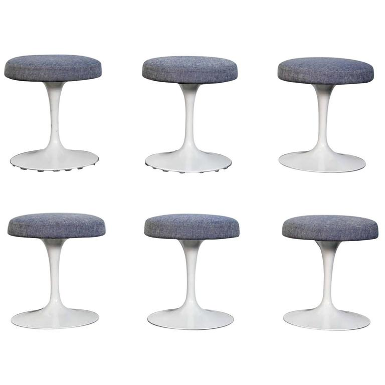 Rare Set of Six Eero Saarinen Tulip Stools for Knoll