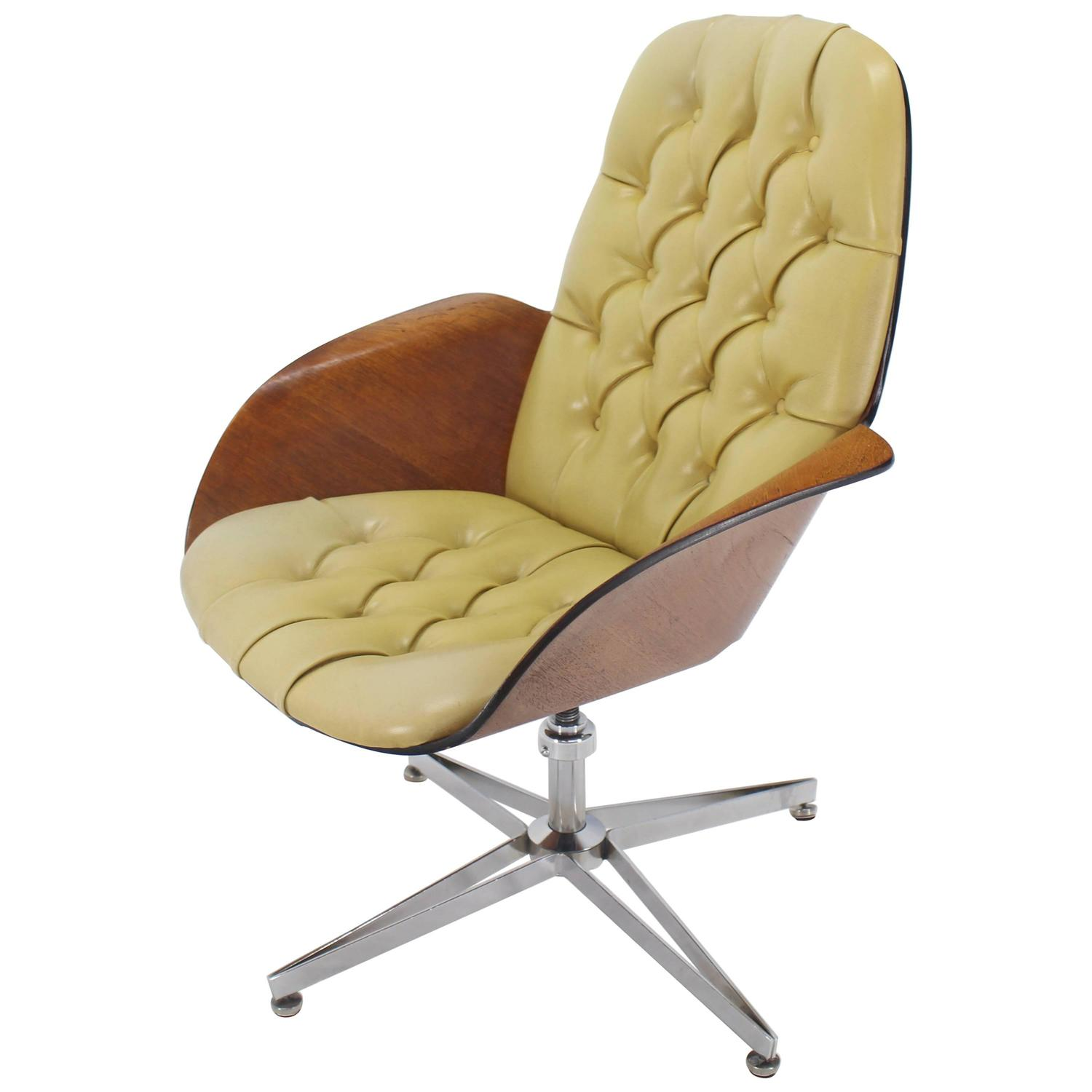 mustard green upholstery bent plywood plycraft office chair for