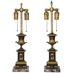 Antique French Empire Bronze Urn Lamps