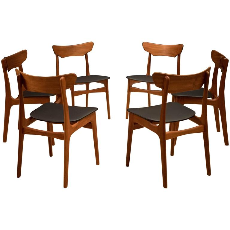 Danish Set of Schionning and Elgaard Teak Dining Chairs For Sale