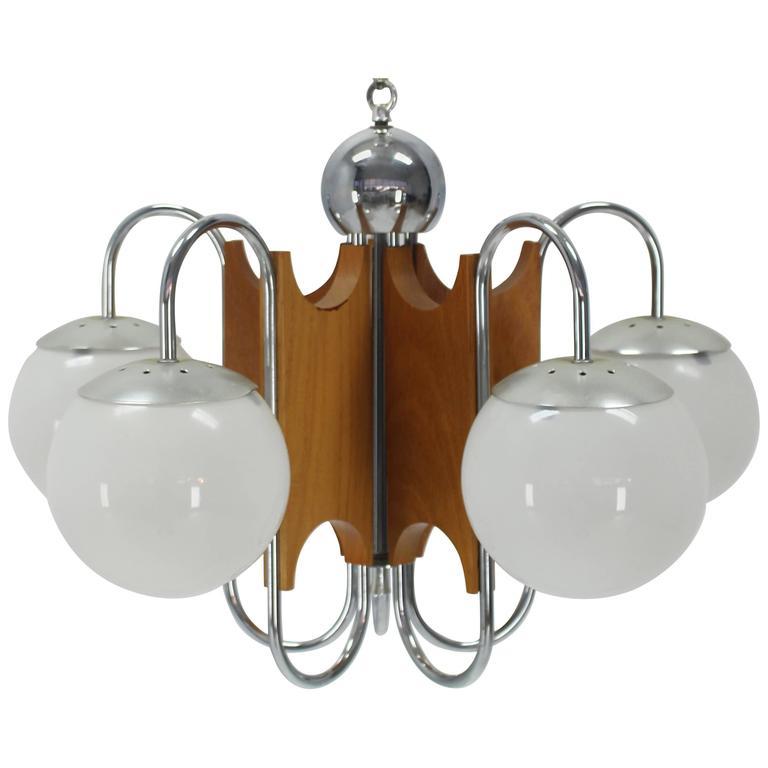 Danish Mid Century Modern Light Fixture Chandelier 5 Frosted Glass ...