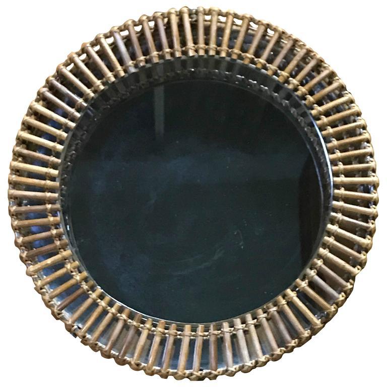 Diminutive Franco Albini Style Rattan and Brass Circular Mirror
