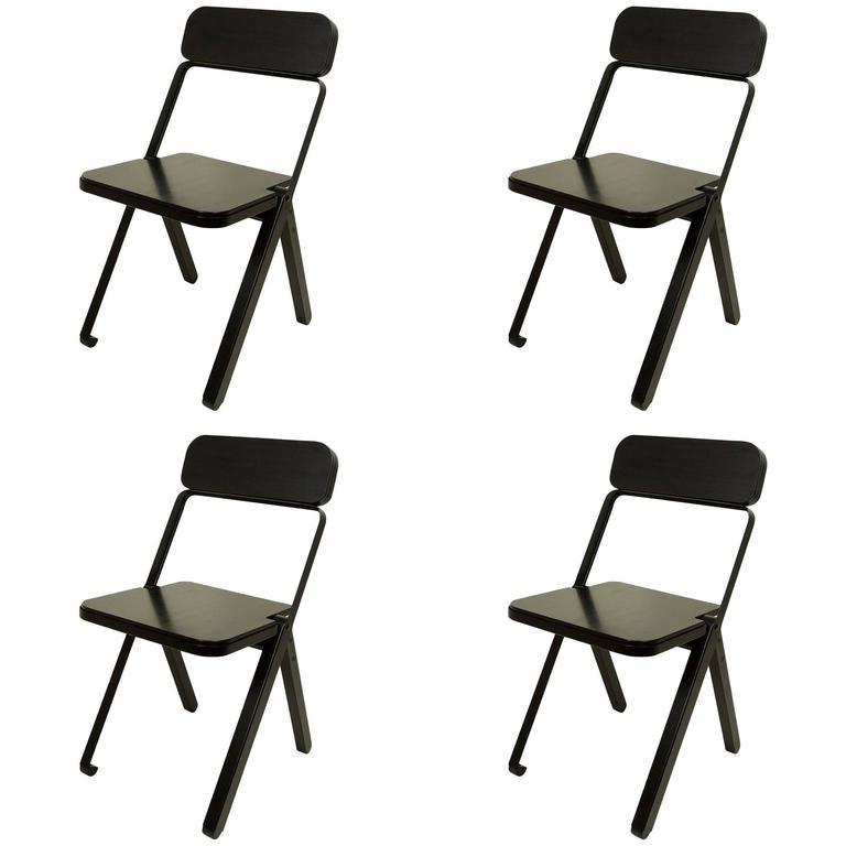Set of Four Profile Folding Chairs, Black and Black, from Souda, Made to Order