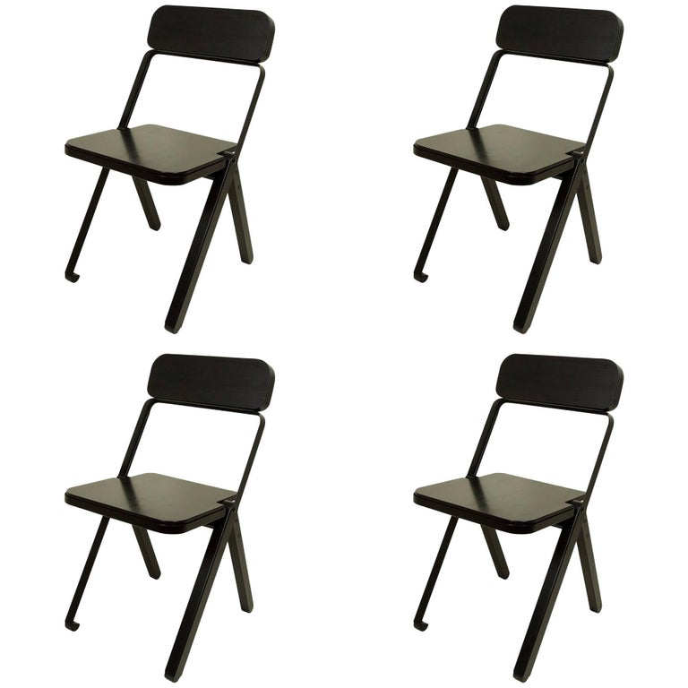 Set of Four Profile Folding Chairs, Black and Black, from Souda, Made to Order For Sale
