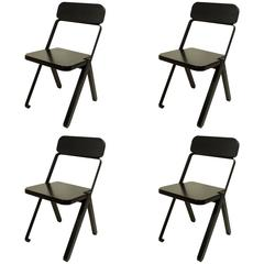 Set of Four Profile Folding Chairs, Black and Black, from Souda