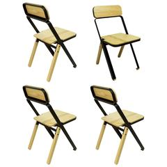 Set of Four Profile Folding Chairs, Black and Natural, from Souda