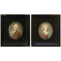 Pair of Well Executed Miniature Portraits George and Martha Washington