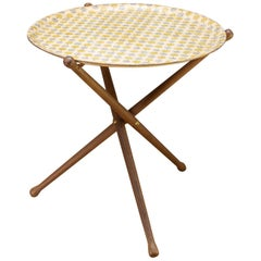 Nils Trautner Tripod Teak Table with Astrid Sampe Apple Pattern Tray