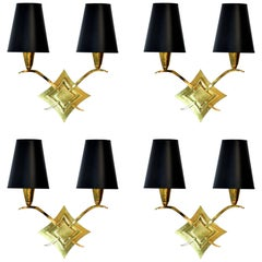 Set of Four French Brass Sconces Attributed to Leleu