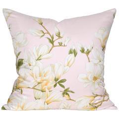 Large Vintage Magnolia Pink Valentino Silk Scarf with Irish Linen Cushion Pillow