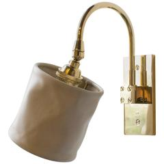 Adam Otlewski Small Sconce in Polished Unlacquered Brass and Leather