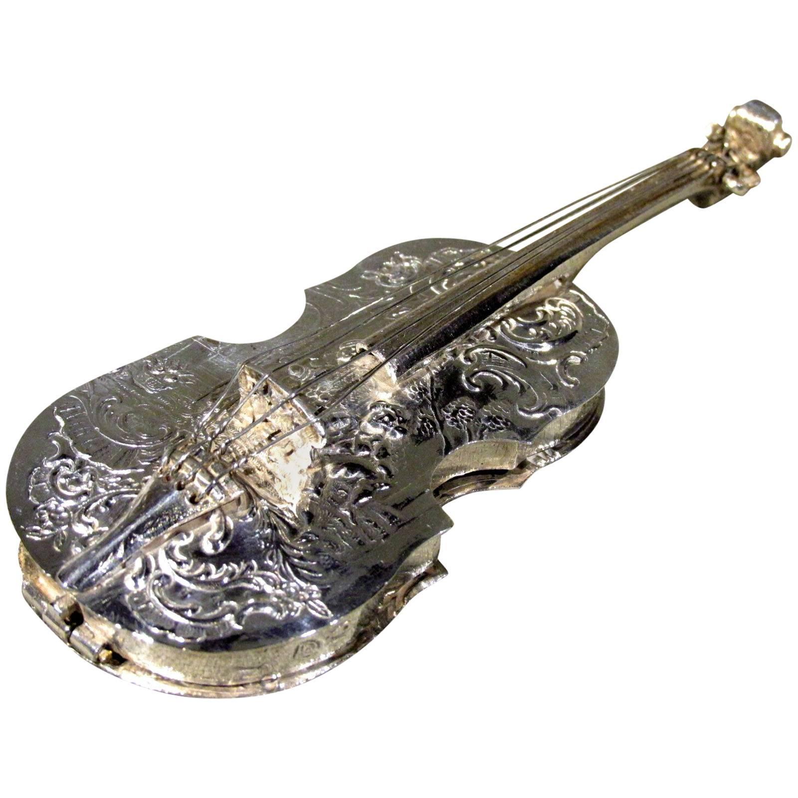 19th Century Dutch Silver Pill Box in the Form of a Miniature Cello, Circa 1880
