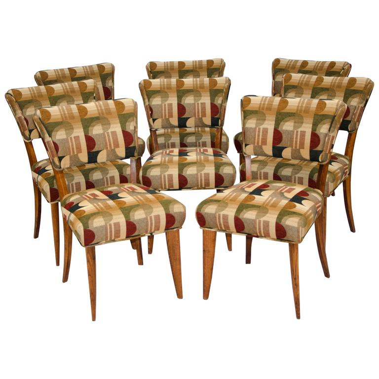 Mid-Century Set of Eight Dining Chairs by Paul Laszlo for Brown Saltman For Sale