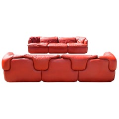 """Pair of """"Confidential"""" Leather Sofas $ Chair by Alberto Rosselli for Saporiti"""