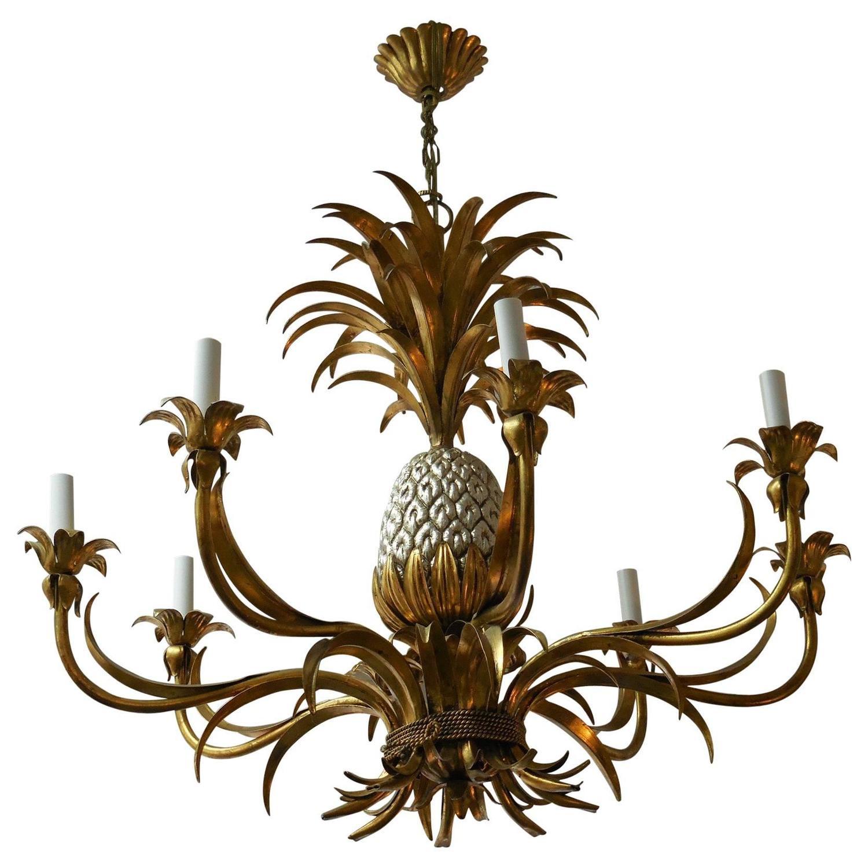 Gilt Italian Pineapple Chandelier For Sale at 1stdibs