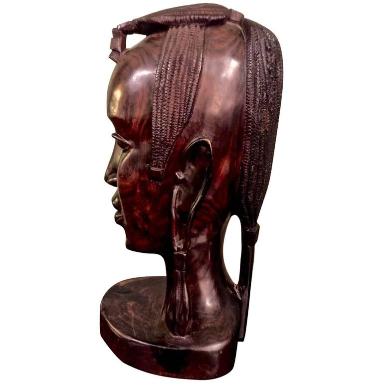 20th Century Carved African Female Bust For Sale