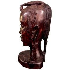 20th Century Carved African Female Bust