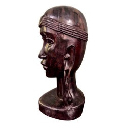 20th Century African Ebony Male Bust