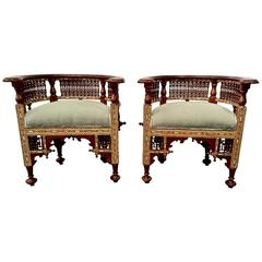 Pair of Antique Syrian Barrel Back Inlaid Chairs
