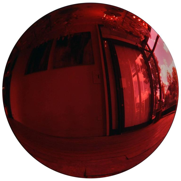 Large Red Convex Mirror