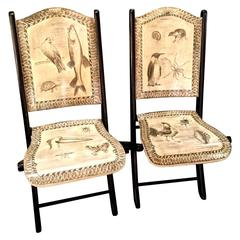 Pair of 20th Century Penwork Decorated Folding Chairs