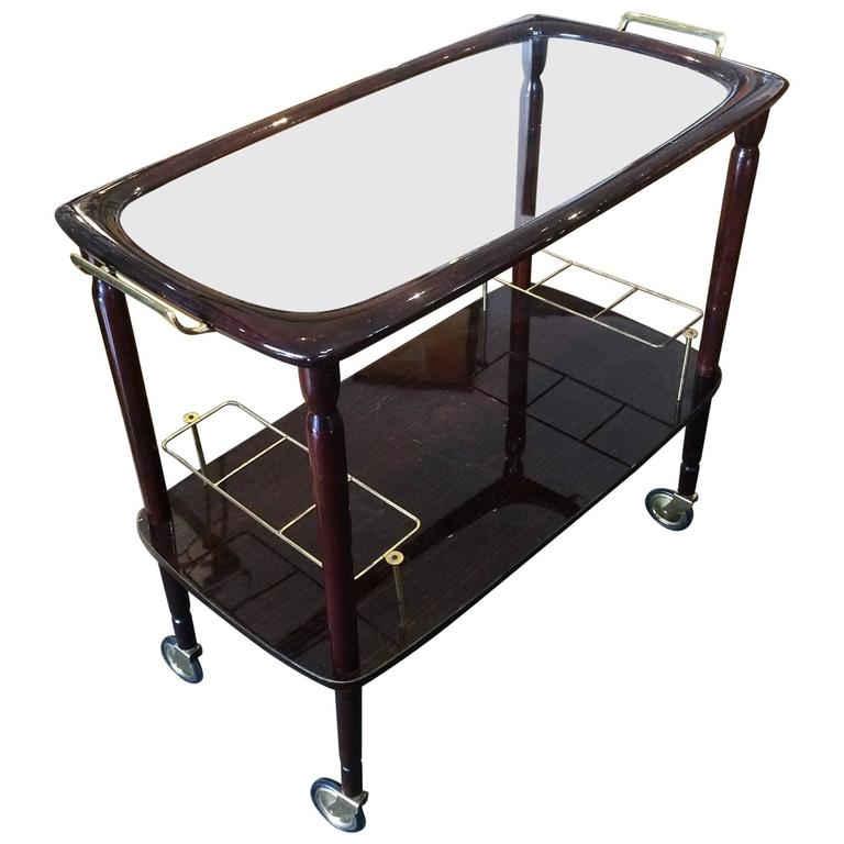 French Mid-Century Lacquered Bar Cocktail Cart Trolley