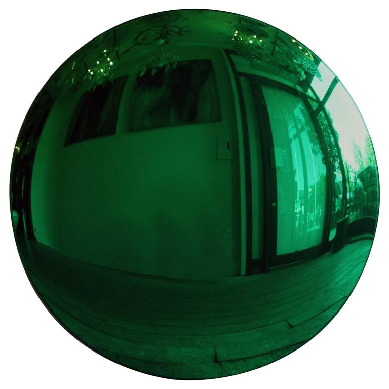 Large convex green mirror for sale at 1stdibs for Convex mirror for home