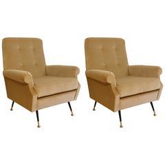 1950s Vintage Beige Velvet Italian Armchairs
