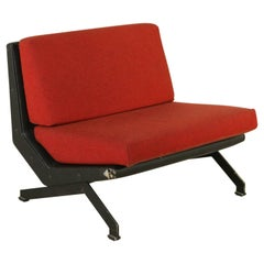 Armchair by Moscatelli for Formanova Steel Leather Fabric Vintage, Italy