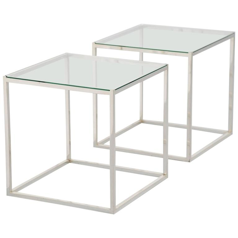 Lino Sabattini Side Tables Silver Plated, Italy, 1970