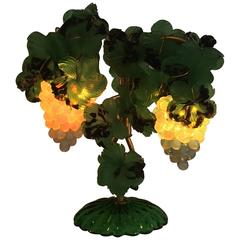 Art Deco Czech Leaves and Opalescent Grapes Lamp