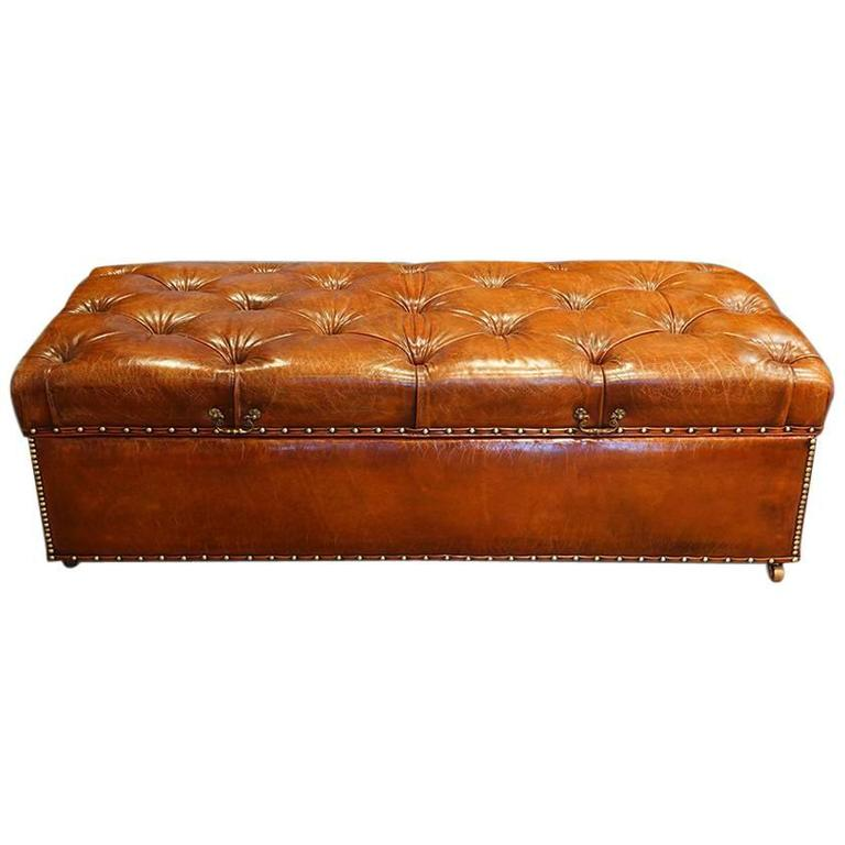 Large edwardian leather ottoman at 1stdibs Red leather ottoman coffee table