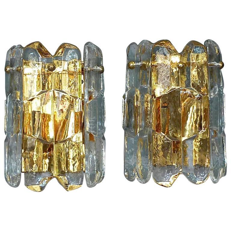 """Pair of Gilt Brass Crystal Ice Glass """"Palazzo"""" Sconces by J.T. Kalmar, Austria"""