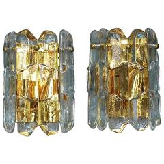 "Pair of Gilt Brass Crystal Ice Glass ""Palazzo"" Sconces by J.T. Kalmar, Austria"