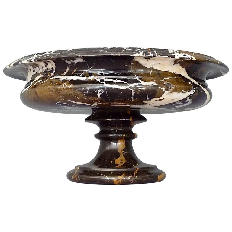 Antique Black White Marble Bowl Centerpiece Italian Neoclassical 19th Century   For Sale